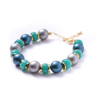 Bracelet turquoise jade, silver shell