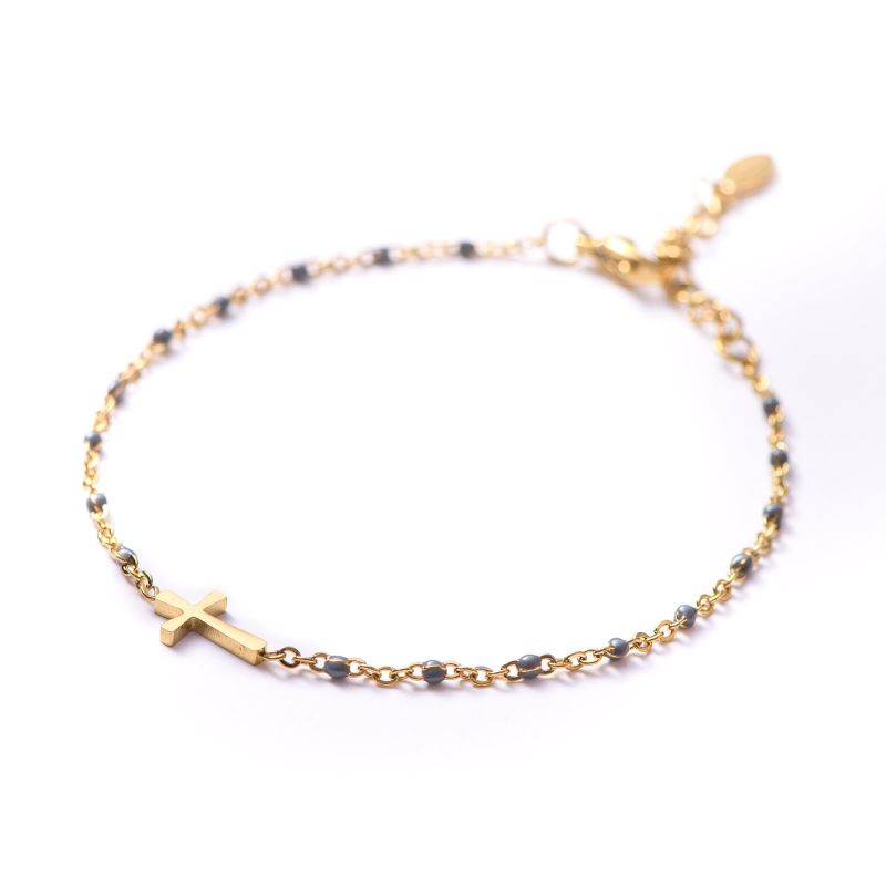 Bracelet Cross grey minimal