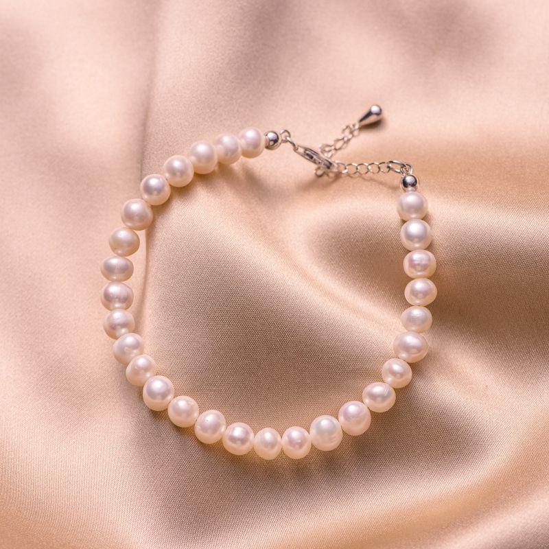 Bratara argint Princess perle albe