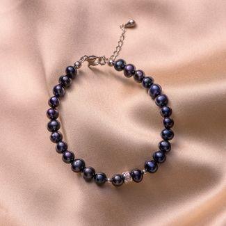 Sterling Silver Bracelet black -indigo pearls