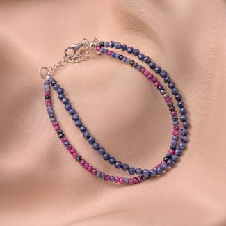 Sterling Silver Bracelet DB sapphire and ruby