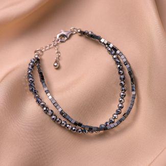 Sterling Silver Bracelet DB hematite, terahertz