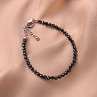 Sterling Silver Bracelet black spinel