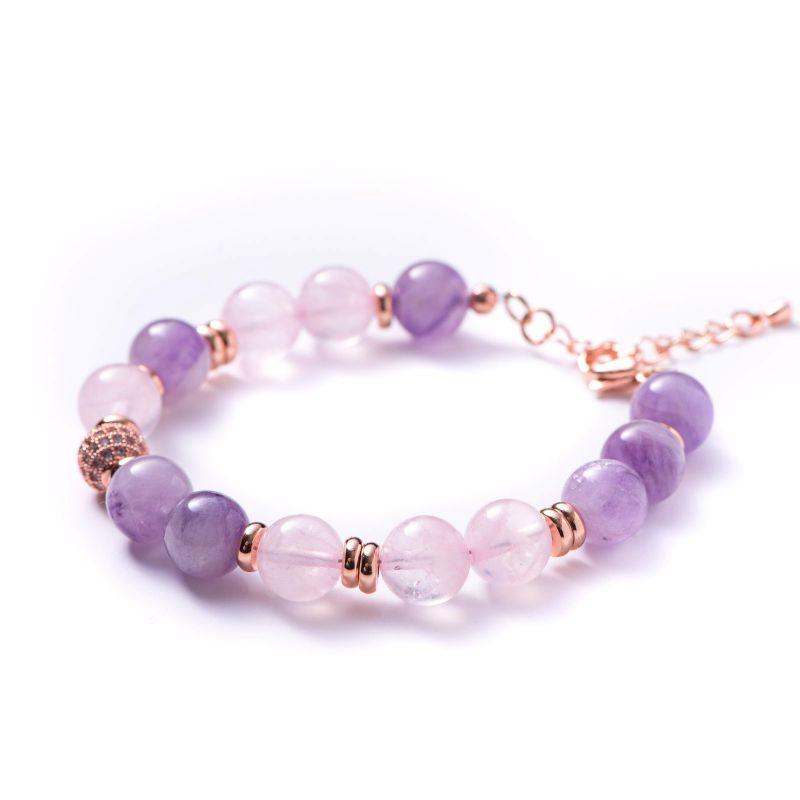 Bracelet amethyst lavender, pink quartz