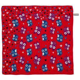 Cadou: Eşarfă pătrată Gaia bufniţe fond roşu