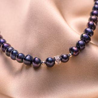 Colier argint perle negre-indigo