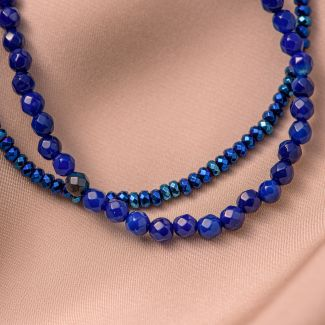 Sterling Silver Bracelet DB blue agate, hematite