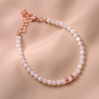 Bracelet white sidef, pink discs