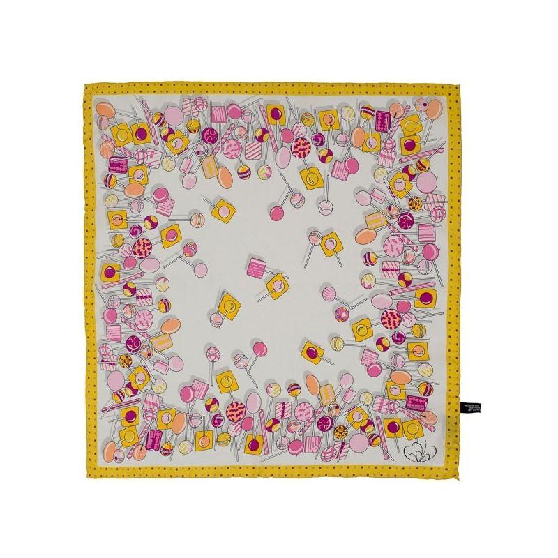 Eşarfă pătrată Gaia Lollypop galben şi roz