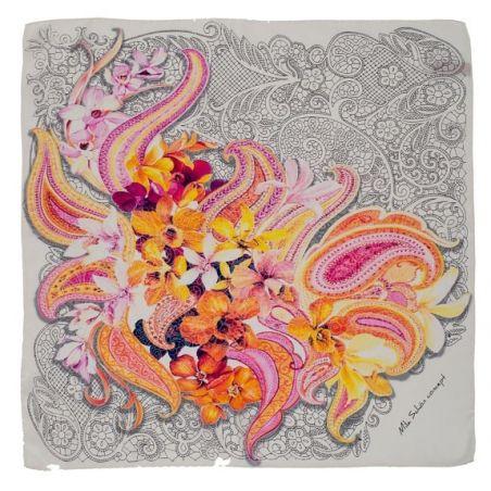 Eşarfă pătrată Mila Schon simplu geometric si buchet flori fond alb