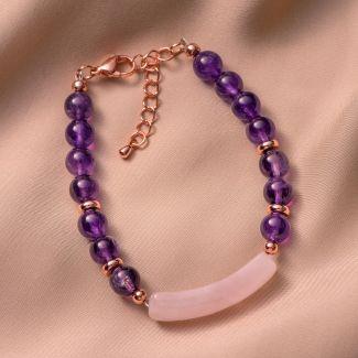 Bracelet amethyst, pink quartz link