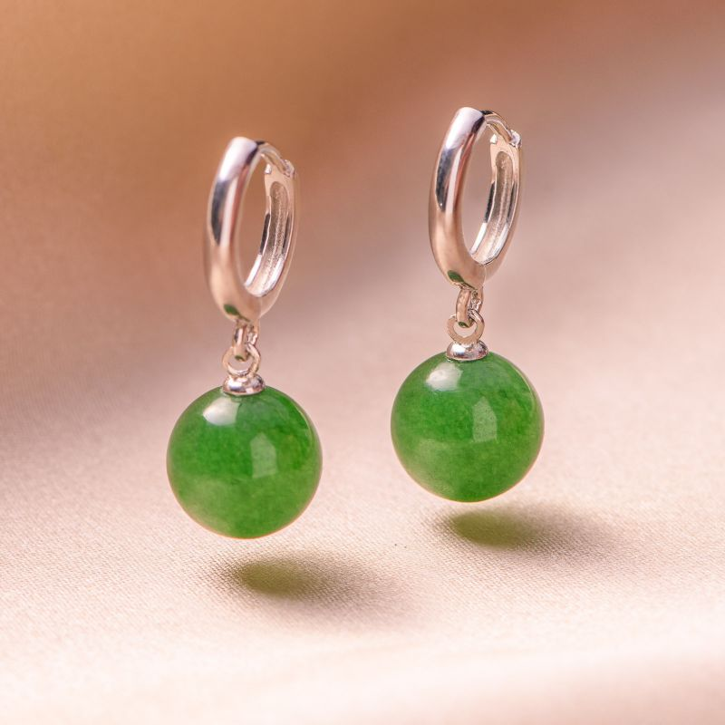 Cercei argint Everyday Classy jad verde