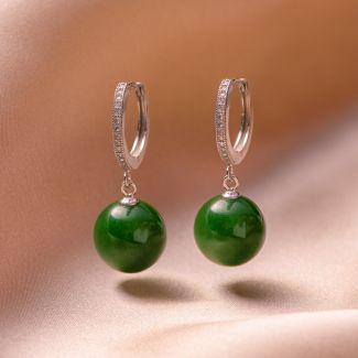 Sterling Silver Earrings New Look green jade