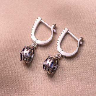 Sterling Silver Earrings Sapphire Blue zirconia