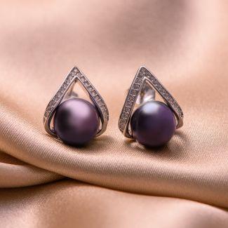 Set colier, bratara si cercei argint perle negre-indigo