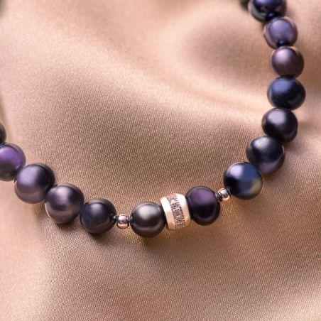 Bratara argint perle negre-indigo