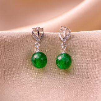 Set colier, bratara si cercei argint jad verde