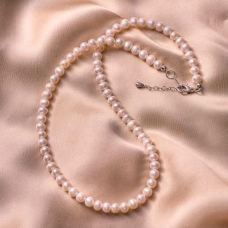 Colier argint Princess small pearls