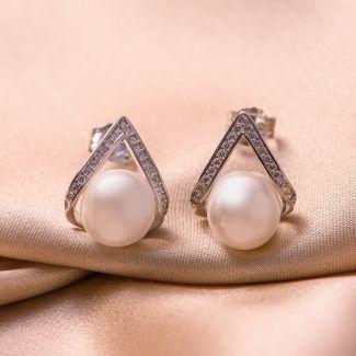 Set colier, bratara si cercei argint perle albe