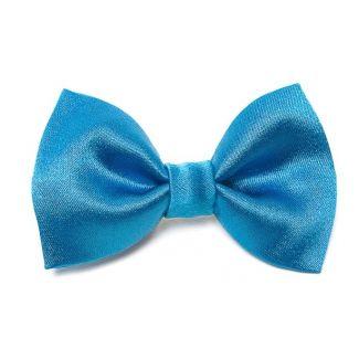Set Esarfa matase naturala simplu geometric blue cu fundita albastru marin