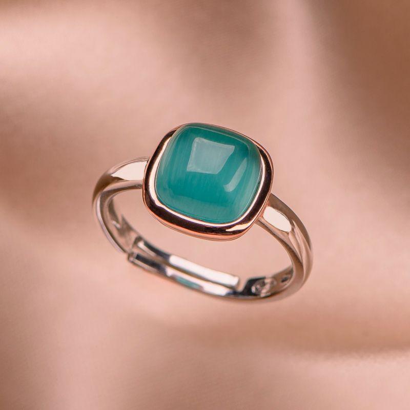 Inel reglabil argint Iconic Emerald Cat Eye