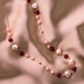 Colier argint agate ruby
