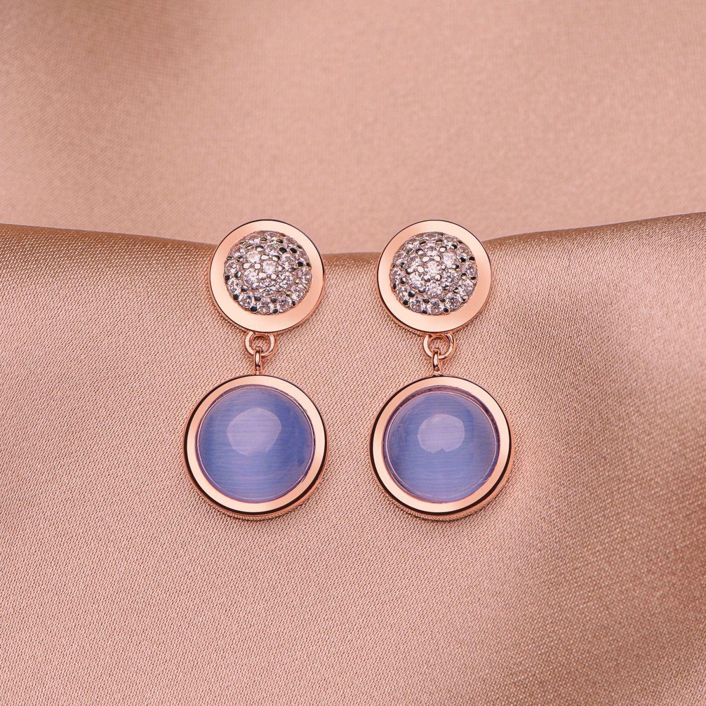 Cercei argint Iconic Blue Tanzanite Cat Eye