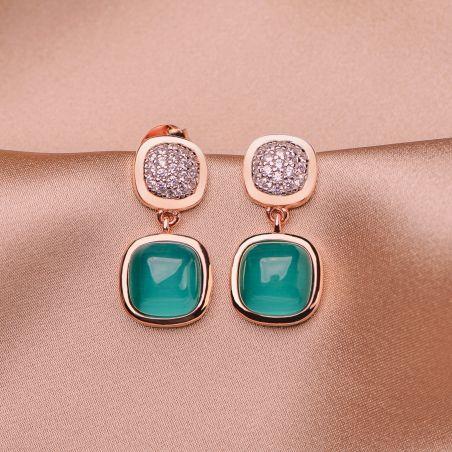 Sterling Silver Earrings Iconic Emerald Cat Eye