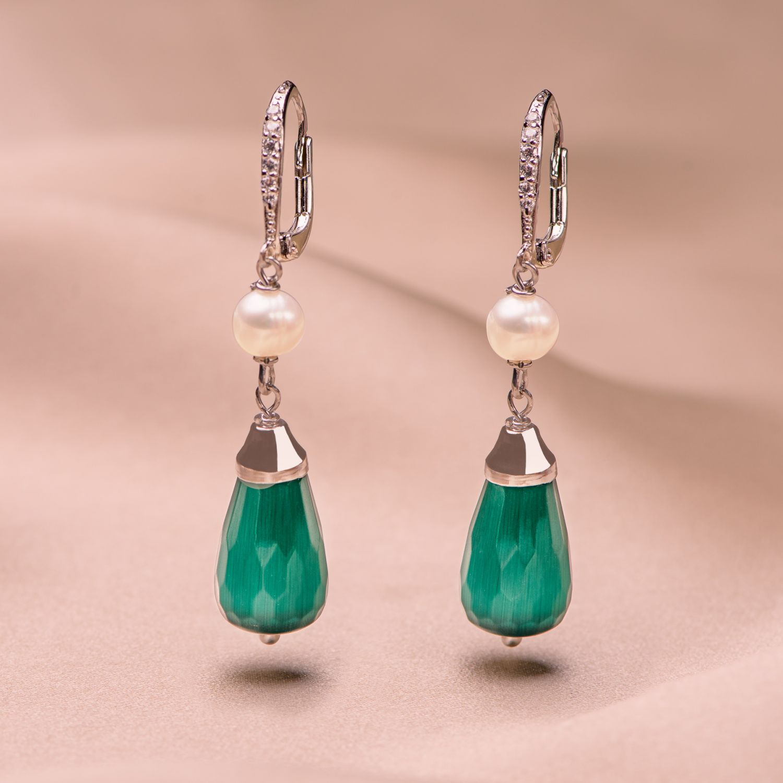 Cercei argint Emerald Cat Eye Drop