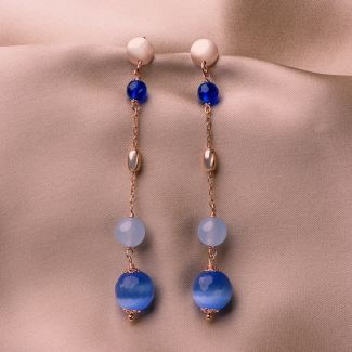 Sterling Silver Earrings with Blue Cat Eye and agate