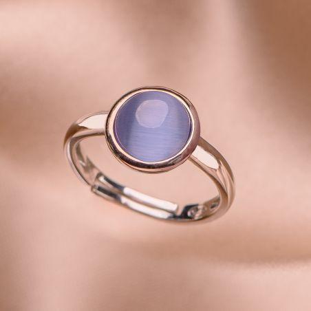 Inel reglabil argint Iconic Blue Tanzanite Cat Eye