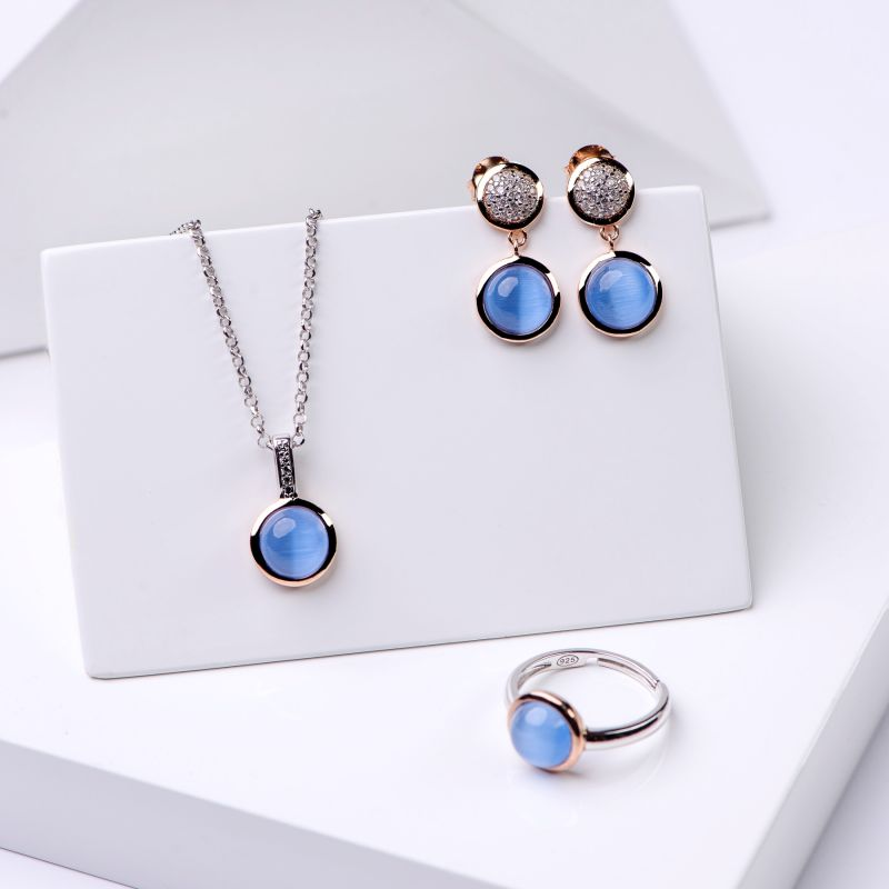Set cercei, colier si inel din argint Iconic Blue Tanzanite Cat Eye
