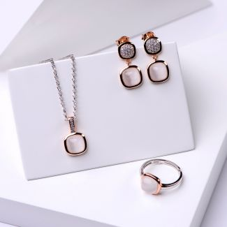 Gift Sterling 925 Silver Earrings, Necklace and Ring Iconic White Milky Cat Eye