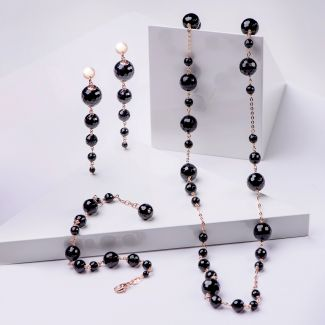 Gift Sterling 925 Silver Earrings, Necklace and Bracelet with black agathe