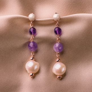 Set cercei, colier si bratara din argint  ametist si perle