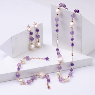 Gift Sterling 925 Silver Earrings, Necklace and Bracelet with amethyst and pearls