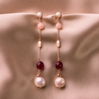 Gift Sterling 925 Silver Earrings and Necklace with ruby ​​agate and pink quartz
