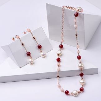Gift Sterling 925 Silver Earrings and Necklace with ruby agate and pink quartz