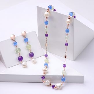 Gift Sterling 925 Silver Earrings and Necklace with Blue Cat Eye, amethyst and pearls