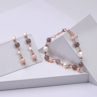 Gift Sterling 925 Silver Earrings and Bracelet with agate Uruguay and pink quartz