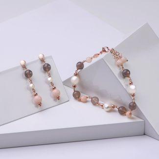Set cercei si bratara din argint Uruguay, cuart roz, perle