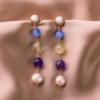 Sterling Silver Earrings Cat Eye and pearls