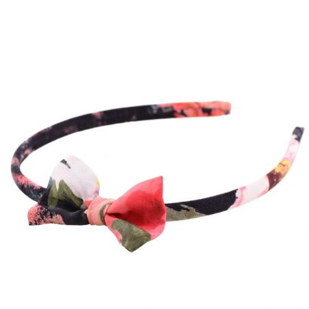 Coral flowers on black bow headband