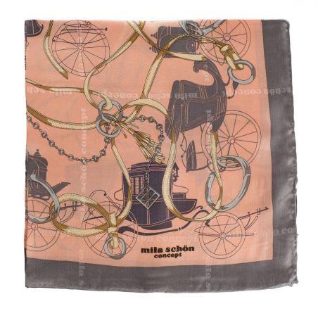 Eşarfă mătase naturală motiv ecvestru corai