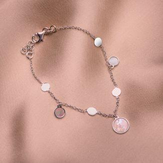 Sterling Silver Bracelet Minimal White Shell round