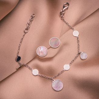 Gift Sterling 925 earings and bracelat Minimal White Shell