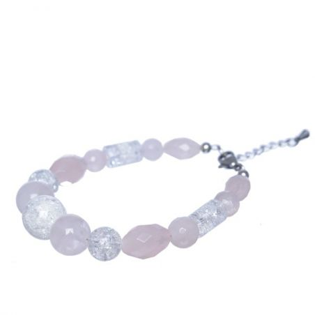 Pink cuartz and ice crystal bracelet