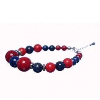 Brățară lapis lazuli și coral roșu