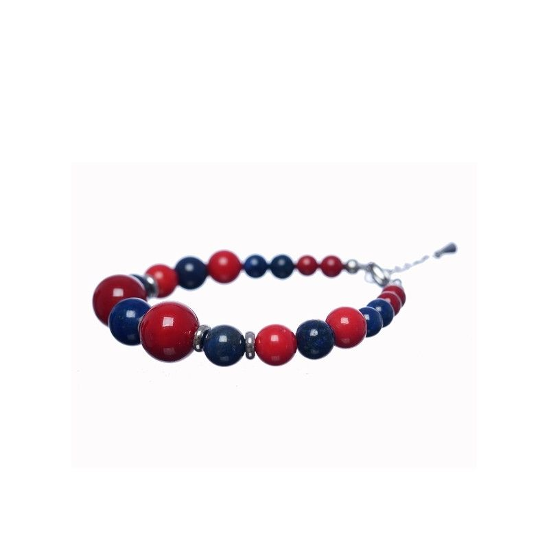 Lapis Lazuli and red coral bracelet
