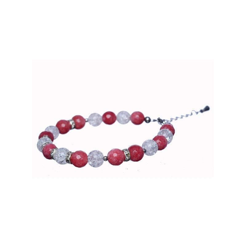 Pink agate and ice crystal bracelet